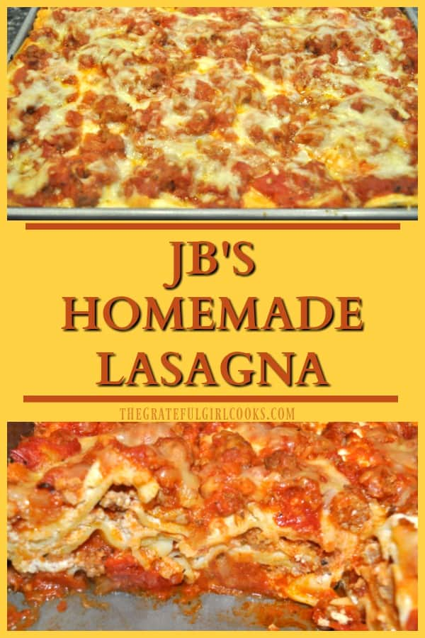 Enjoy delicious homemade lasagna (serves 12), with Italian sausage, ground beef, mozzarella, ricotta & Parmesan cheese, tomatoes & Italian spices.