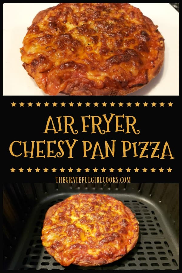 Make a delicious Air Fryer Cheesy Pan Pizza for lunch/dinner. Use canned biscuit dough for crust & Mozzarella/Parmesan cheeses, pizza sauce & spices!