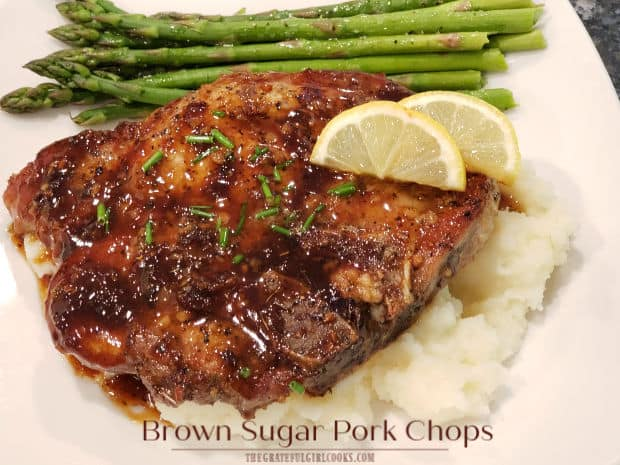 Brown Sugar Pork Chops are an easy and delicious dish, featuring seared pork chops baked in a simple garlic, butter, spices and brown sugar sauce!