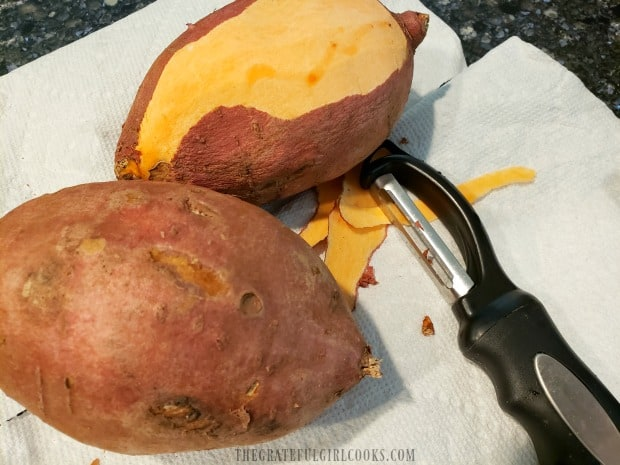 Peeling the sweet potatoes is the first step necessary for making this recipe.