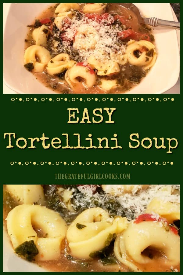 Enjoy a piping hot bowl of yummy, Italian-inspired, Easy Tortellini Soup, made in under 30 minutes with only a few key ingredients and spices.