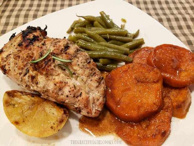 Sweet potatoes, & green beans served with grilled lemon chicken breasts.