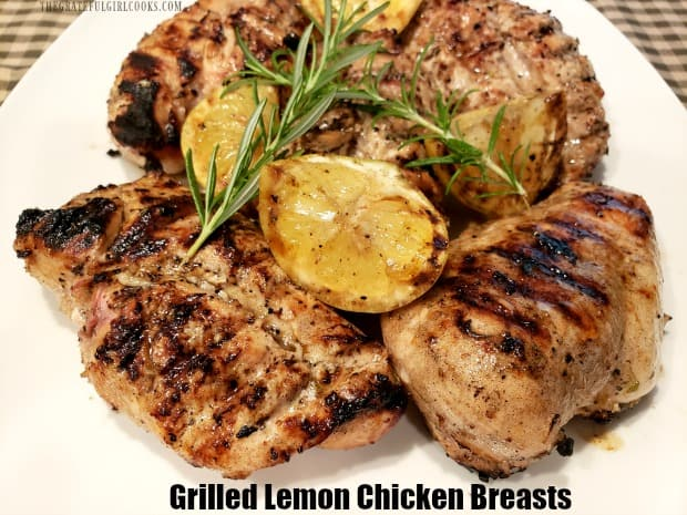 Fire up your BBQ and make delicious, grilled lemon chicken breasts! A flavorful lemon marinade coats the chicken, then it's grilled until done. EASY!