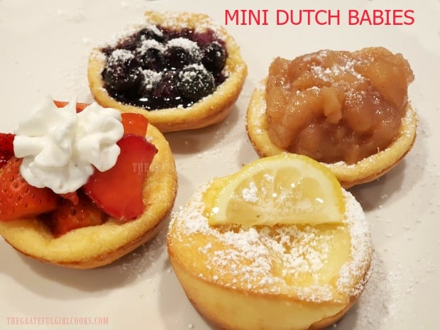 Mini Dutch Babies are simple to make, and will be a hit at any breakfast or brunch. Mix in blender, bake, then top with fruit fillings or maple syrup!