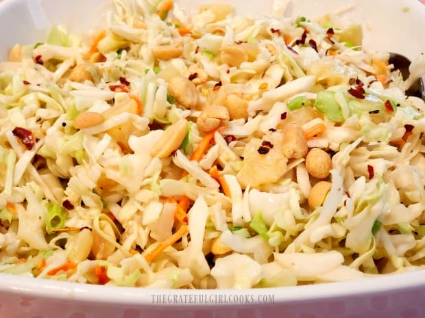 Pineapple peanut coleslaw is a delicious side dish... crunchy and sweet!