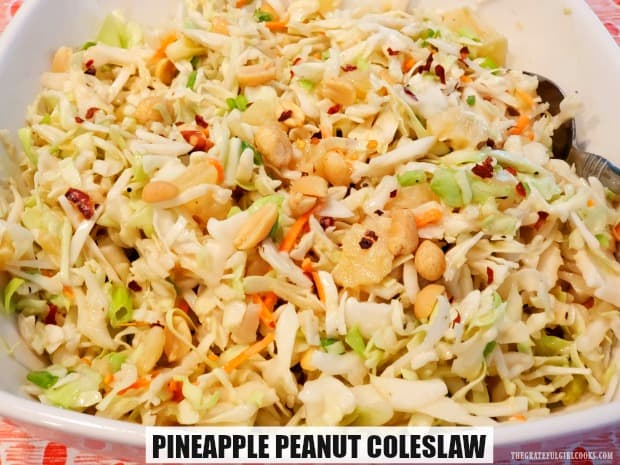 Pineapple Peanut Coleslaw is an easy and delicious salad/side dish for your next BBQ! This sweet, crunchy salad is ready in 10 minutes, and serves 8.