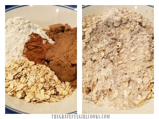 Oats, flour, cinnamon and brown sugar are combined in bowl.