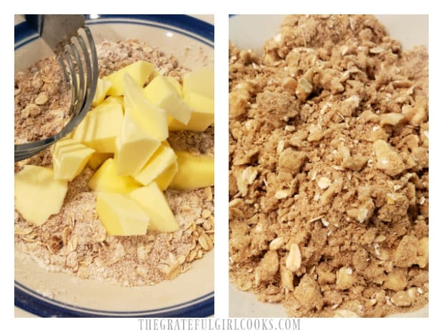 Cold butter is cut into the streusel ingredients until crumbly.