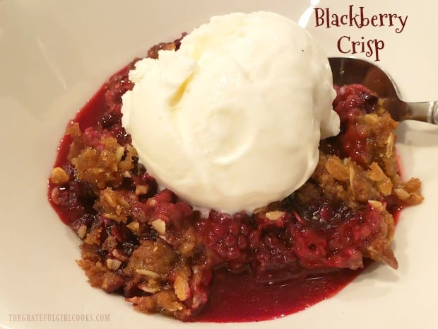 Blackberry Crisp is an easy, old-fashioned dessert you'll love! Fresh blackberries, topped with a crumb streusel, baked and served a la mode.