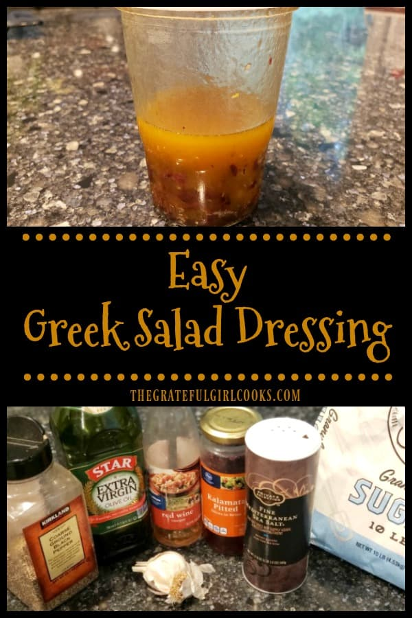 Make Easy Greek Salad Dressing in under 5 minutes. Use this delicious dressing (w/ chopped kalamata olives) on a favorite Greek or mixed green salad.