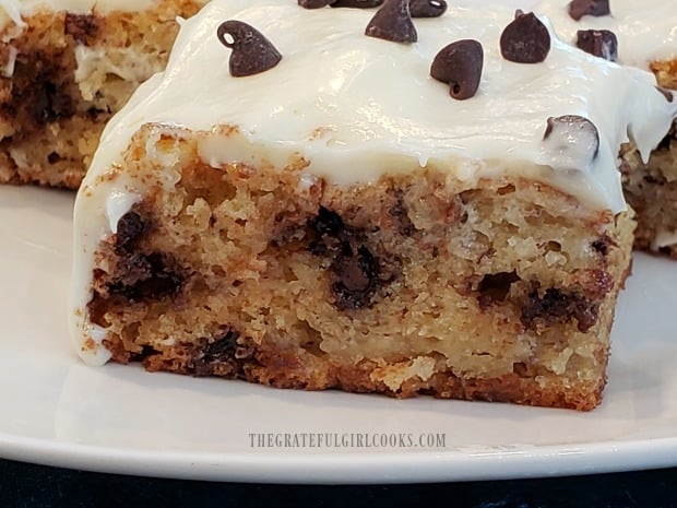 Banana chocolate chip bars are cut into portions and served!