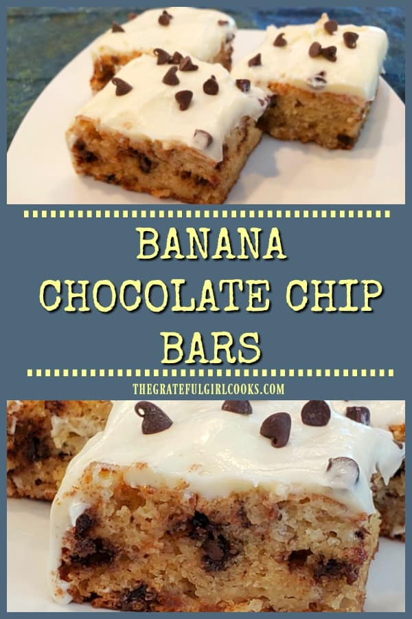 It's easy to make Banana Chocolate Chip Bars (w/ cream cheese frosting) for those you love! They're moist & delicious- you're gonna love 'em!
