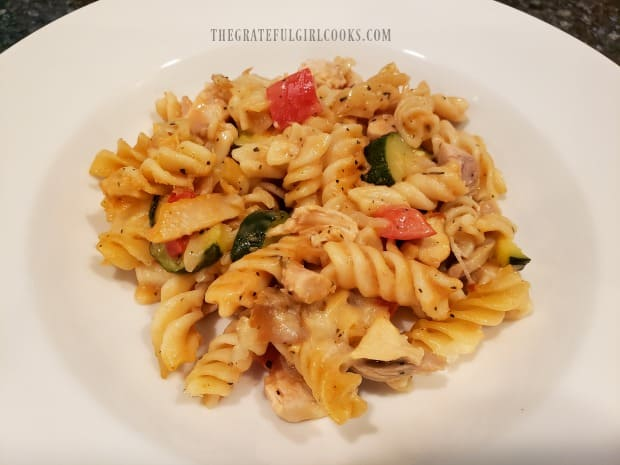 A bowl of chicken pasta casserole, ready to enjoy!