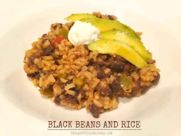 Black Beans and Rice is a scrumptious, budget-friendly, meatless meal for the family! A lot of flavor, fiber, and protein in this easy dish!