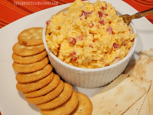 Classic pimiento cheese can be served with crackers for an appetizer.