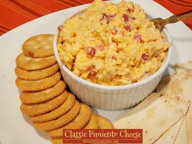 Need a delicious, EASY, quick appetizer or sandwich? Make a small batch of classic pimiento cheese to serve on crackers or a favorite bread.