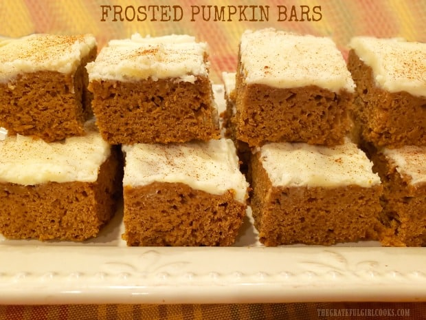 Frosted Pumpkin Bars are easy-to-make delicious treats, with cream cheese frosting, cinnamon, ginger and cloves, for a true taste of FALL!