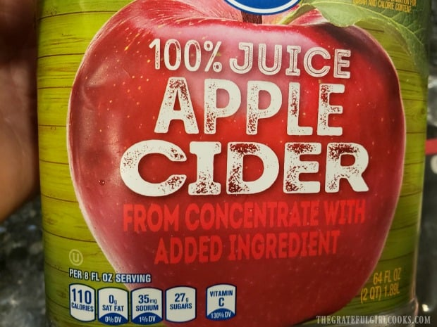 Apple cider is used for this recipe, NOT apple juice.