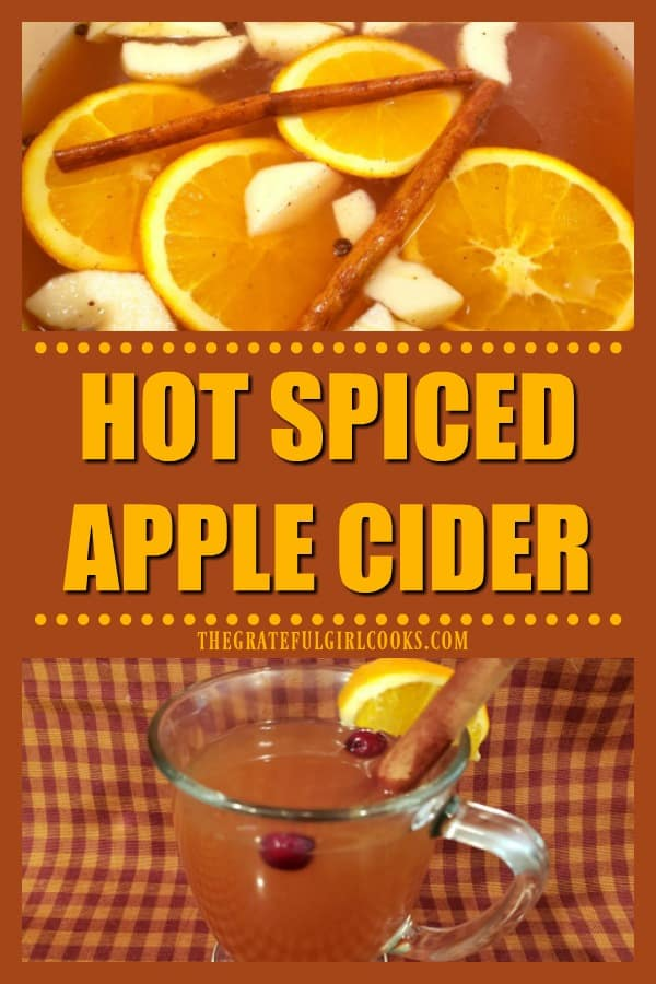 "Warm up with a mug of ""easy-to-make"" hot spiced apple cider! It's a delicious ""family-friendly"" drink to serve at any gathering or holiday!"