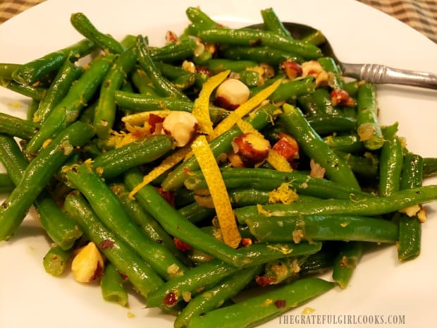 A look at the Lemon Hazelnut Green Beans, up close in a white bowl.