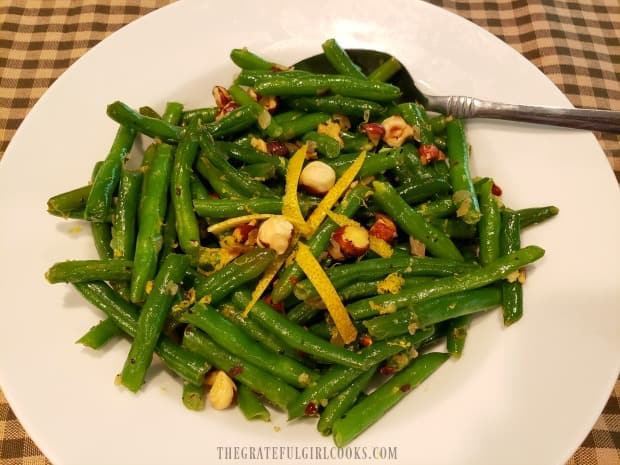 Lemon Hazelnut Green Beans are garnished and ready to serve.
