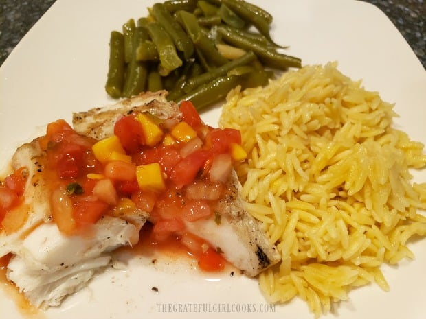 The Lemon Parmesan Orzo, served with green beans and grilled halibut with salsa.