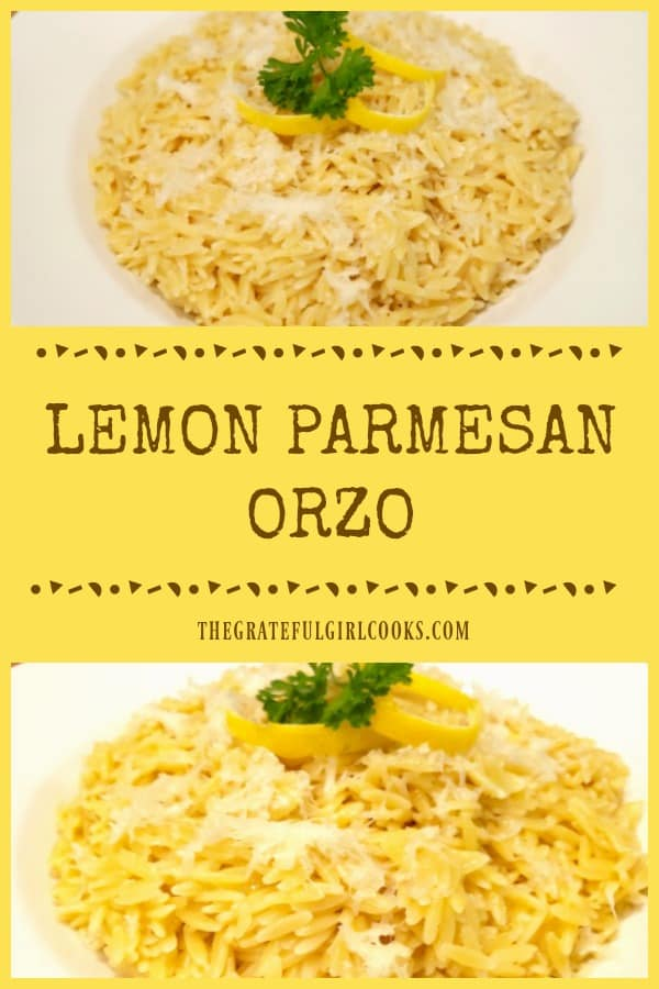 Looking for an easy, light, yummy side dish your family will enjoy? Try Lemon Parmesan Orzo, (serves 4), and it's ready in under 15 minutes!
