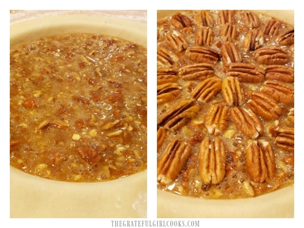 The pie filling is poured into crust, and then topped with pecan halves.
