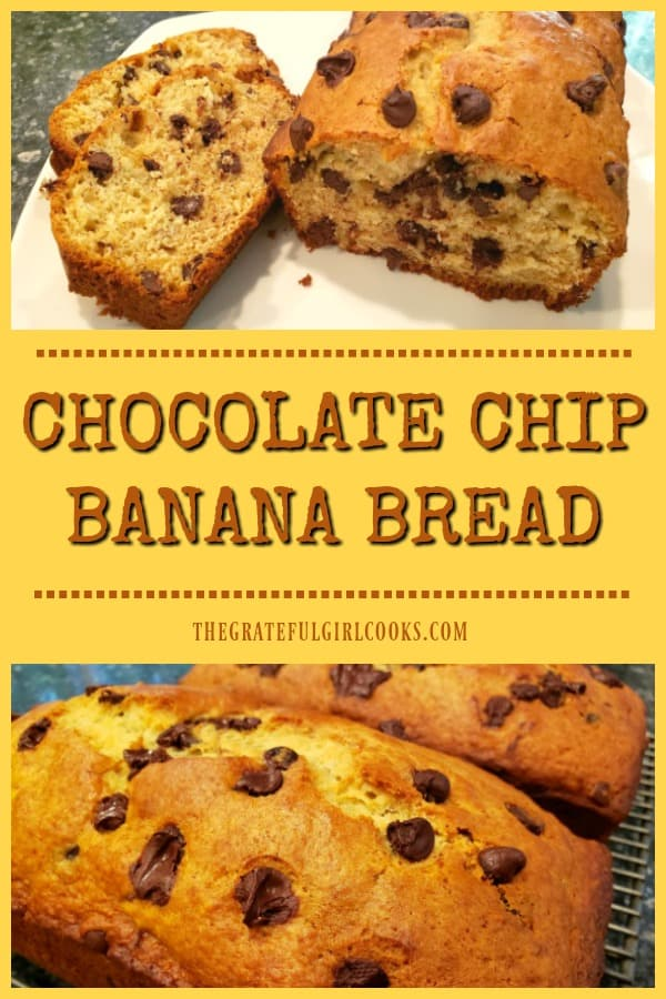 Chocolate Chip Banana Bread is a delicious, easy-to make treat. The recipe yields two 9x5 loaves, perfect for gift-giving or snacking.