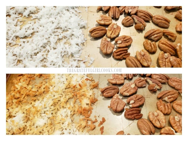 Coconut and pecans are toasted on a baking sheet in the oven.