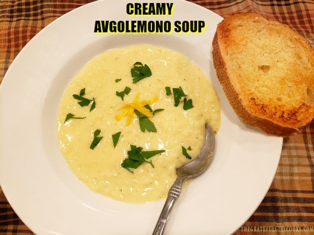 Creamy Avgolemono Soup is a classic Greek dish (with rice) that is delicious, rich and lemony, and very easy to make in under 30 minutes.