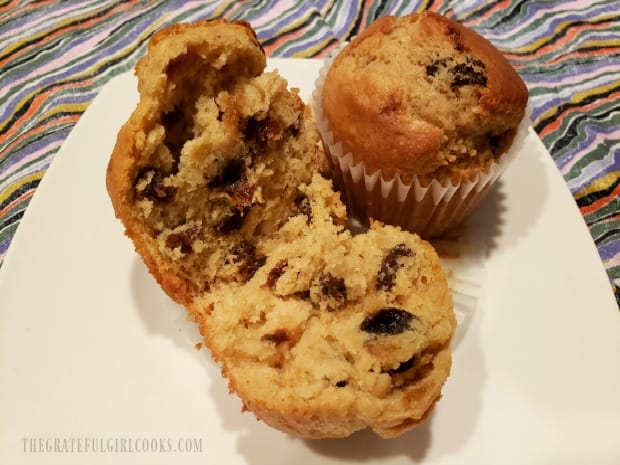 Each of the rum raisin muffins is full of rum-soaked raisins!