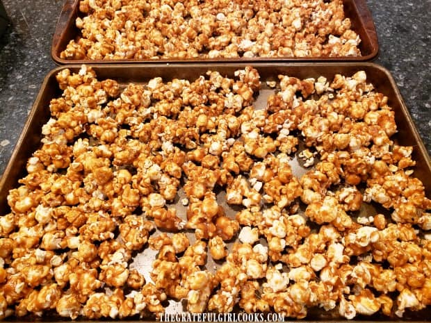 Crunchy caramel corn is baked until very crispy, turning at times during baking.