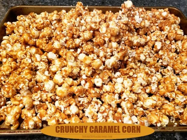 Learn how to make yummy, crunchy caramel corn at home! This delicious, easy treat is made with only a few ingredients and will be a big hit!