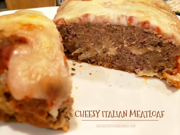 Cheesy Italian Meatloaf is easy to make, and with marinara sauce and mozzarella cheese in the middle and on top, it's a delicious meal!