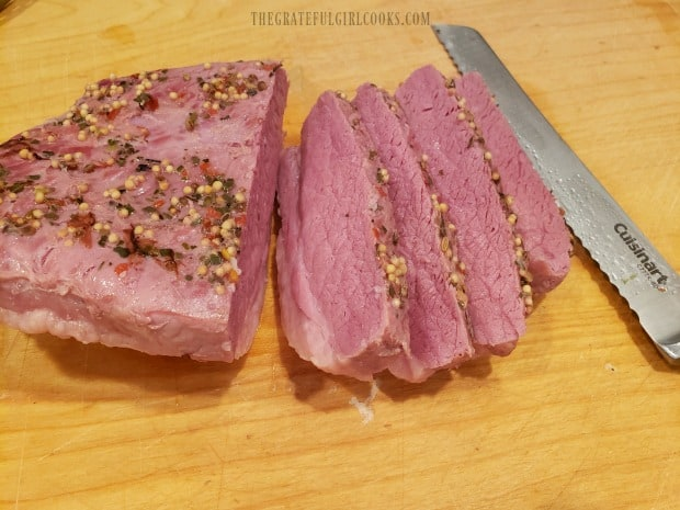Slices of the corned beef are ready for serving.