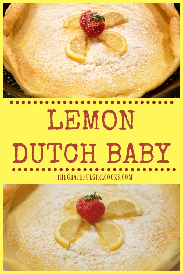 Make a Lemon Dutch Baby (serves 4) in only a few minutes! Ingredients for this fluffy German pancake are blended, then baked in a skillet!