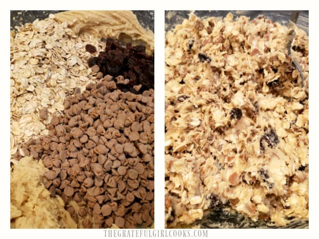 Cinnamon chips, raisins, and oats are stirred into the cookie batter.