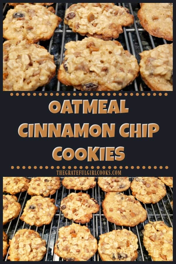 Make a batch of 4 dozen delicious Oatmeal Cinnamon Chip Cookies (with raisins), for family or friends to enjoy! Easy, chewy, and so yummy!