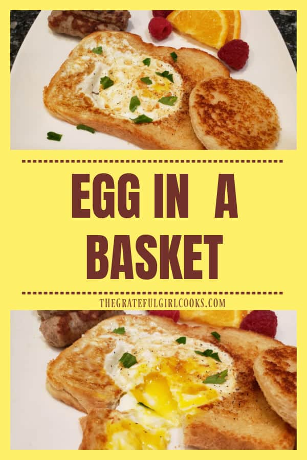 Learn how to make an Egg In A Basket! Toasted, buttery sourdough bread cradles a fried egg in the middle, in this easy to make breakfast!