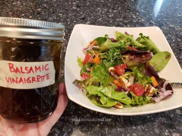 Homemade Balsamic Vinaigrette used on mixed green salad.