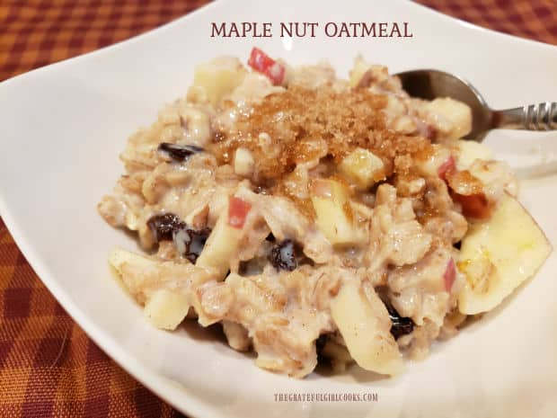 Maple Nut Oatmeal, with apples, raisins, pecans (or walnuts) and maple syrup is an easy, filling, delicious breakfast everyone will enjoy!