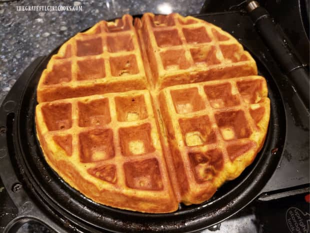 Once done, pumpkin spice waffles are golden brown and crispy on the outside.