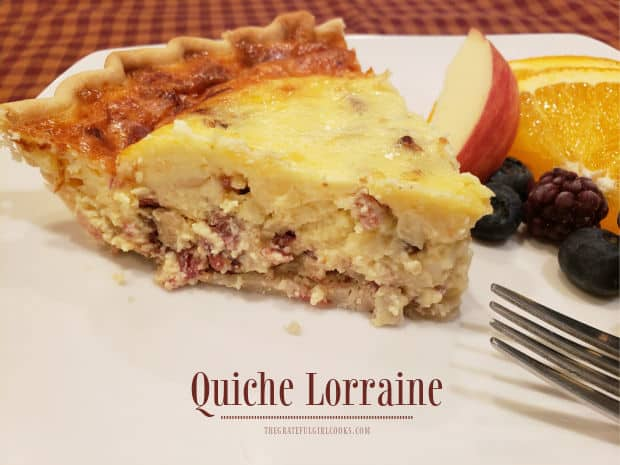 Quiche Lorraine is delicious for breakfast, lunch or dinner! Easy to make, and filled with bacon, eggs, and cheese... you're gonna love it!