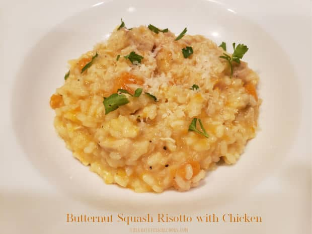 """If you're looking for a delicious, filling dish, try this Butternut Squash Risotto with Chicken! It's an """"all in one bowl"""" meal you'll enjoy!"""