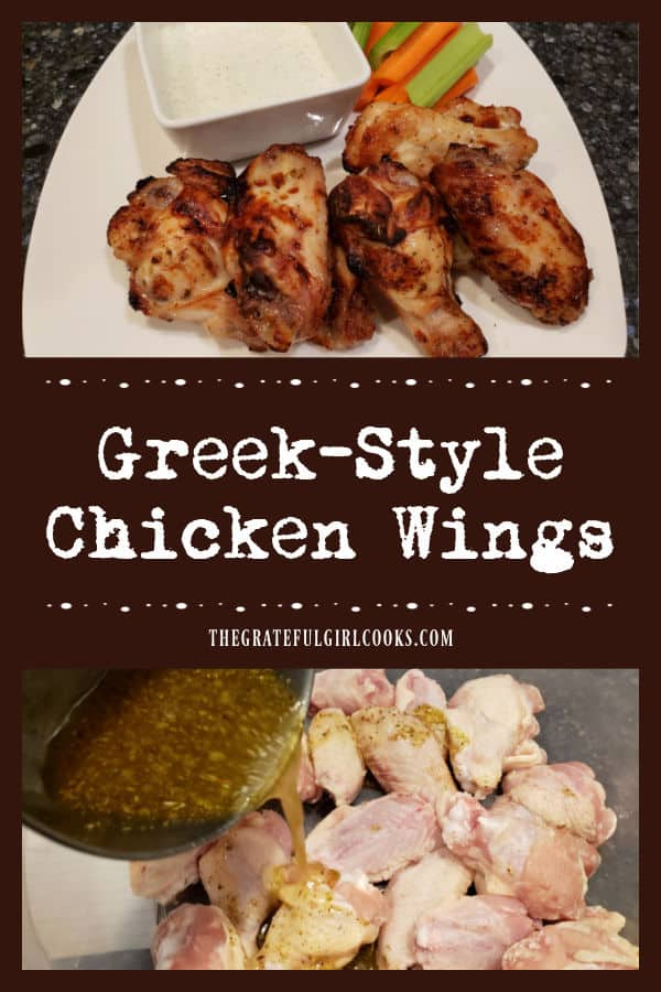 Greek-Style Chicken Wings can be oven-baked, or cooked in an air fryer! Marinated wings are served with homemade tzatziki sauce for dipping.