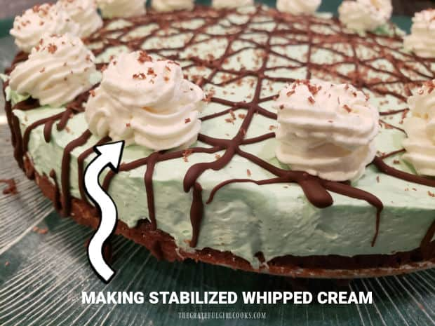 Making stabilized whipped cream is easy! This sweetened cream will hold it's shape for days- perfect for decorating pies, cheesecakes, etc.!