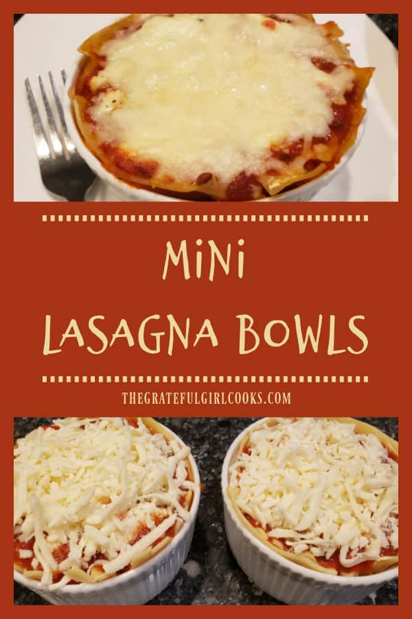 Mini Lasagna Bowls (for 2) are a delicious Italian meal (they're easy to make). Perfect size, when you don't want to make an entire lasagna!