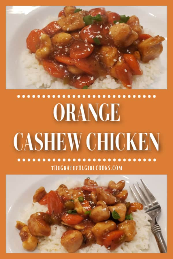 Orange Cashew Chicken is a yummy twist on a Chinese classic! Chicken, veggies and cashews are cooked in a thick, Asian-inspired orange sauce.