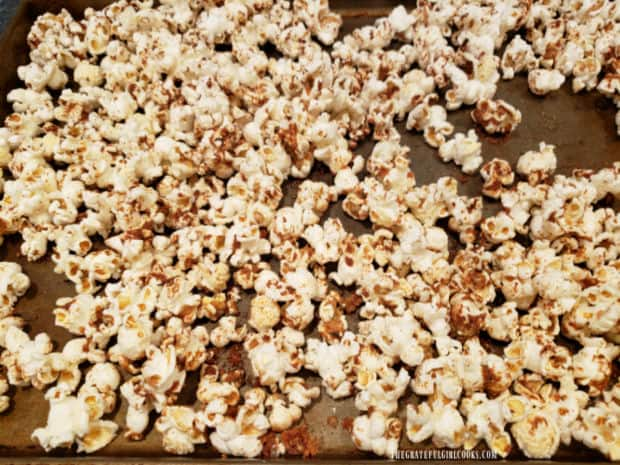 "Popcorn Italiano is baked for 13-15 minutes in a 13""x9"" pan."